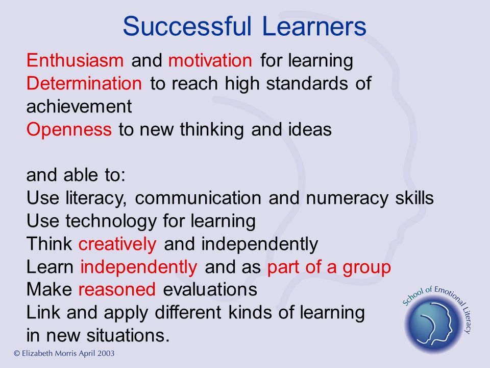 Successful Learners Enthusiasm and motivation for learning