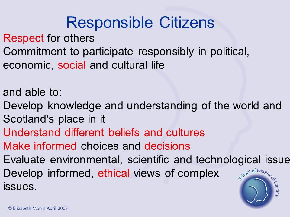 Responsible Citizens Respect for others