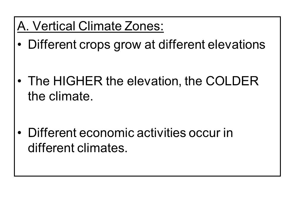 A. Vertical Climate Zones: