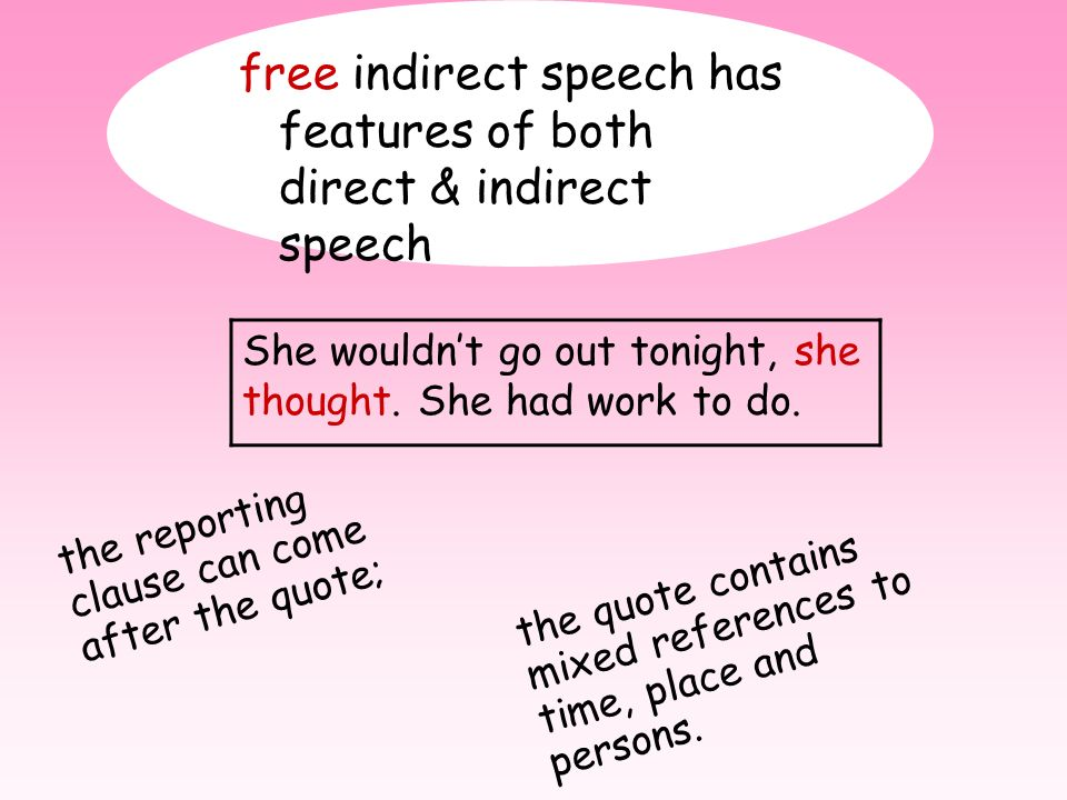 free indirect speech has features of both direct & indirect speech