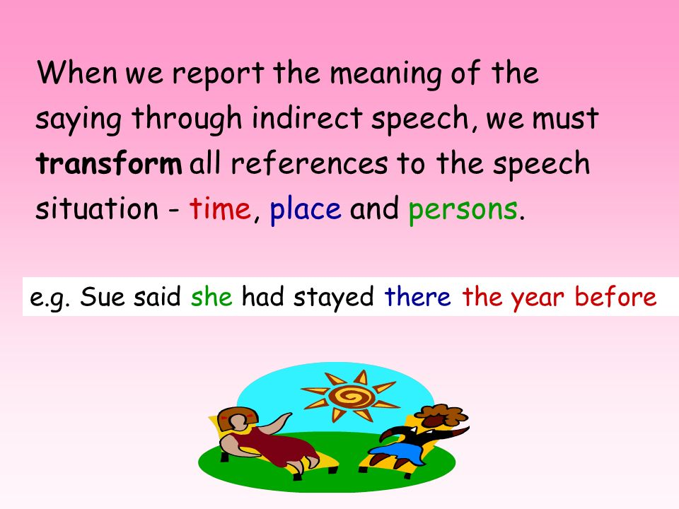 When we report the meaning of the saying through indirect speech, we must transform all references to the speech situation - time, place and persons.