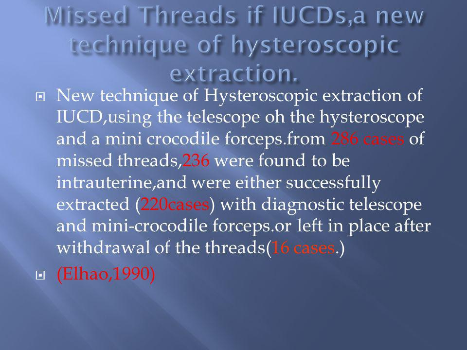 Missed Threads if IUCDs,a new technique of hysteroscopic extraction.