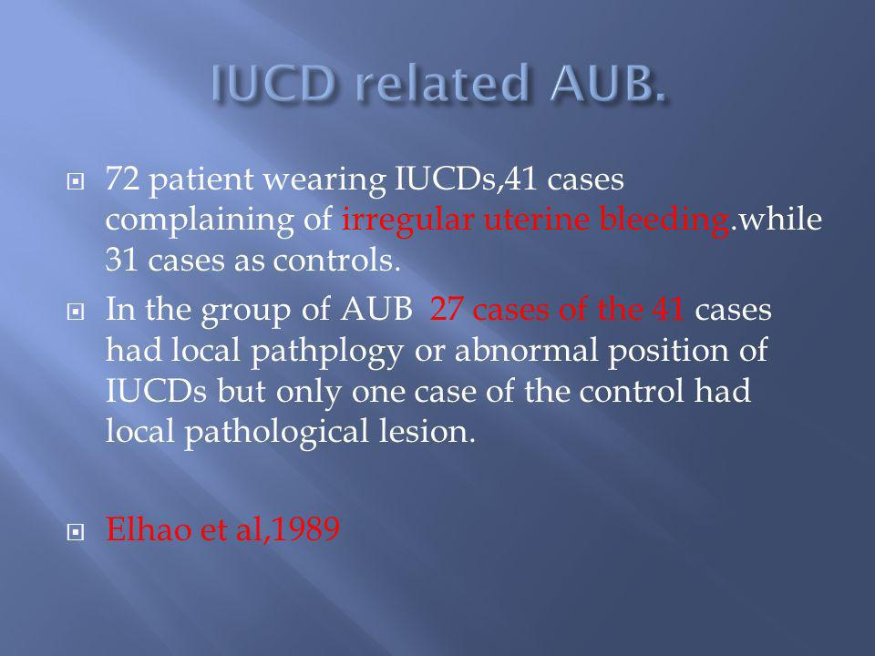 IUCD related AUB. 72 patient wearing IUCDs,41 cases complaining of irregular uterine bleeding.while 31 cases as controls.
