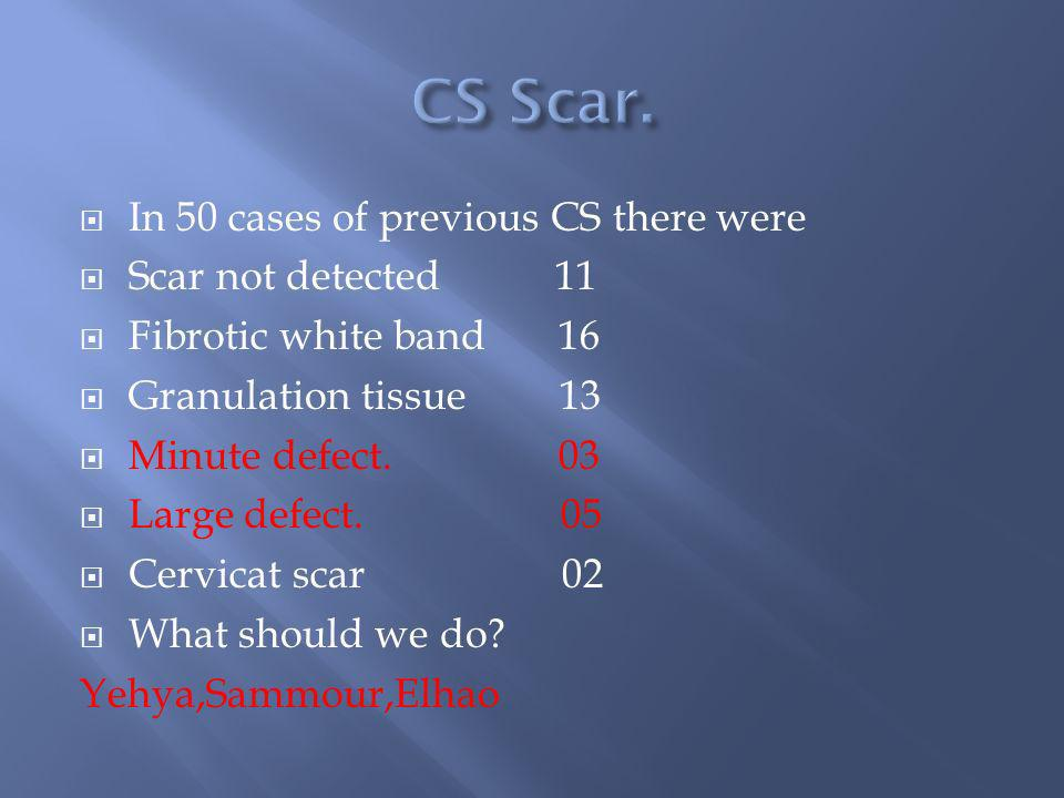 CS Scar. In 50 cases of previous CS there were Scar not detected 11