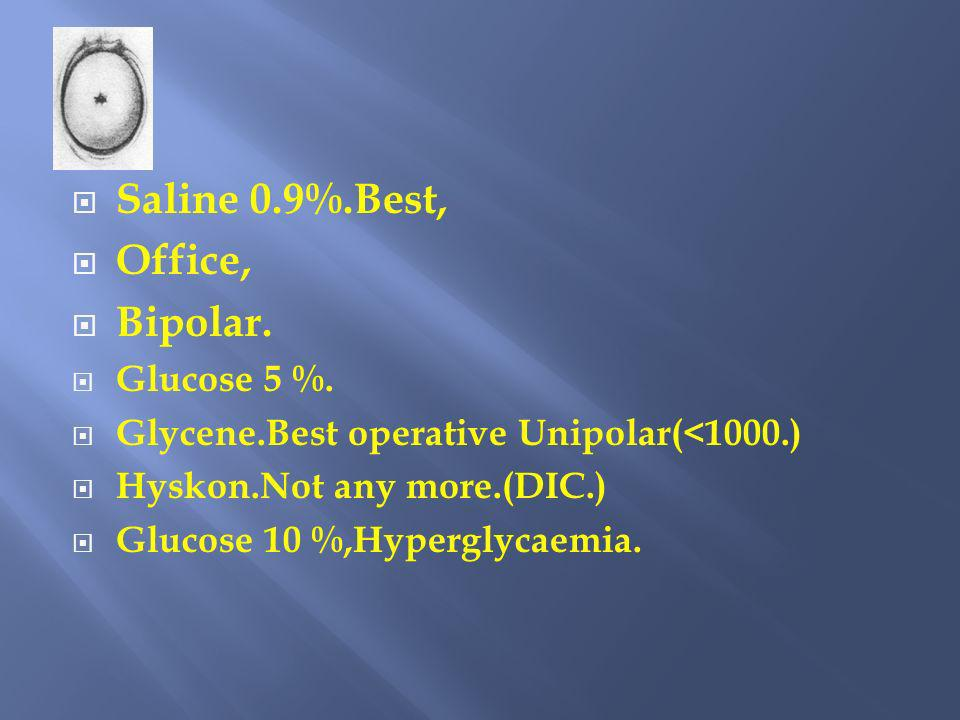 Saline 0.9%.Best, Office, Bipolar. Glucose 5 %.