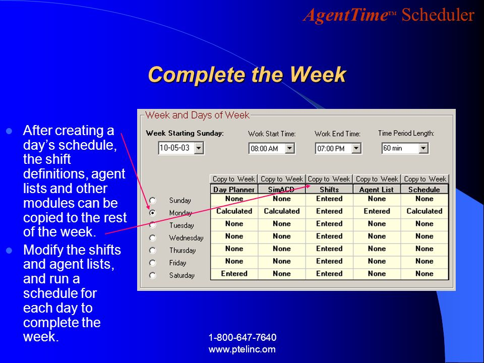Complete the Week After creating a day's schedule, the shift definitions, agent lists and other modules can be copied to the rest of the week.