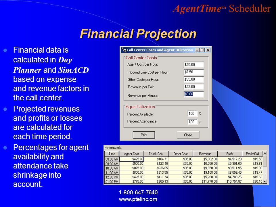 Financial Projection Financial data is calculated in Day Planner and SimACD based on expense and revenue factors in the call center.