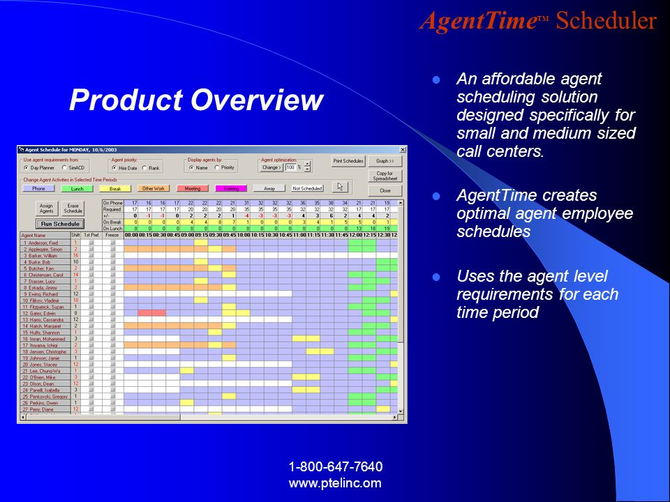 An affordable agent scheduling solution designed specifically for small and medium sized call centers.