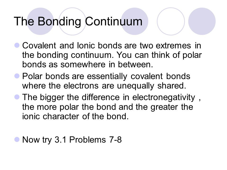 The Bonding Continuum Covalent and Ionic bonds are two extremes in the bonding continuum. You can think of polar bonds as somewhere in between.
