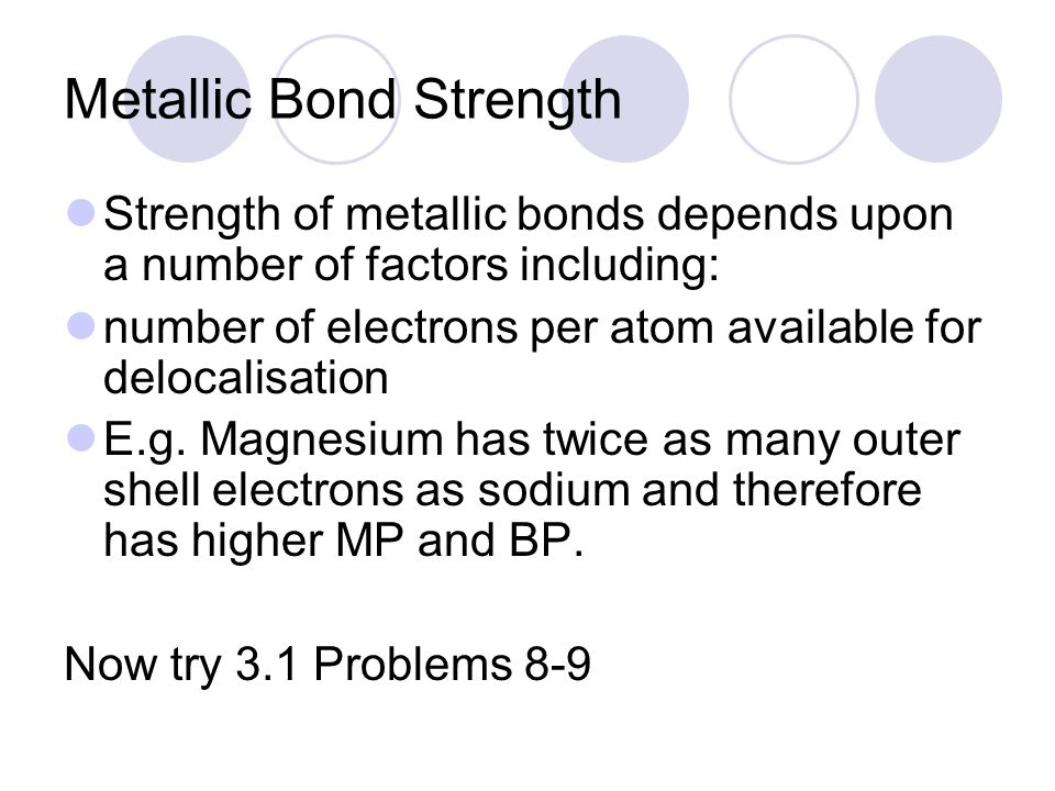 Metallic Bond Strength
