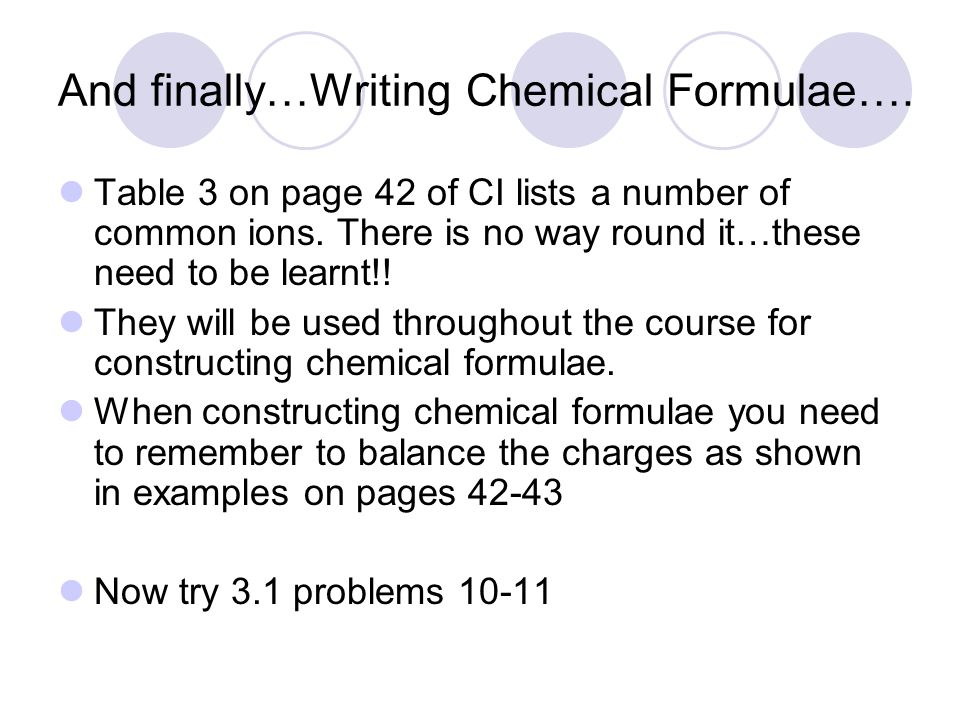 And finally…Writing Chemical Formulae….