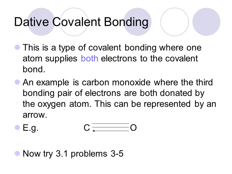 Dative Covalent Bonding