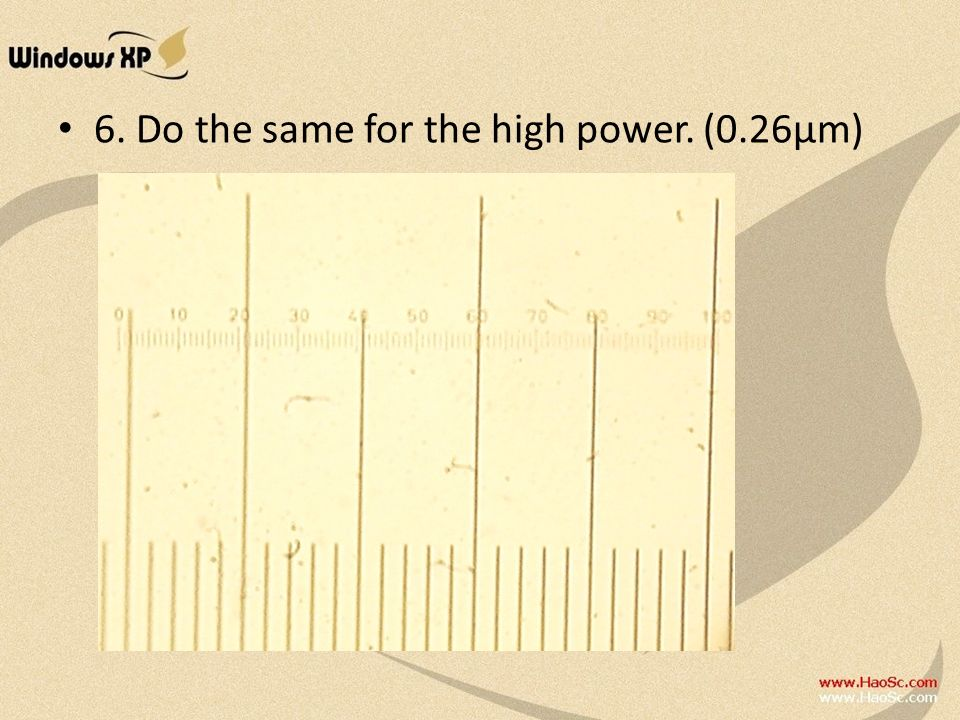 6. Do the same for the high power. (0.26μm)
