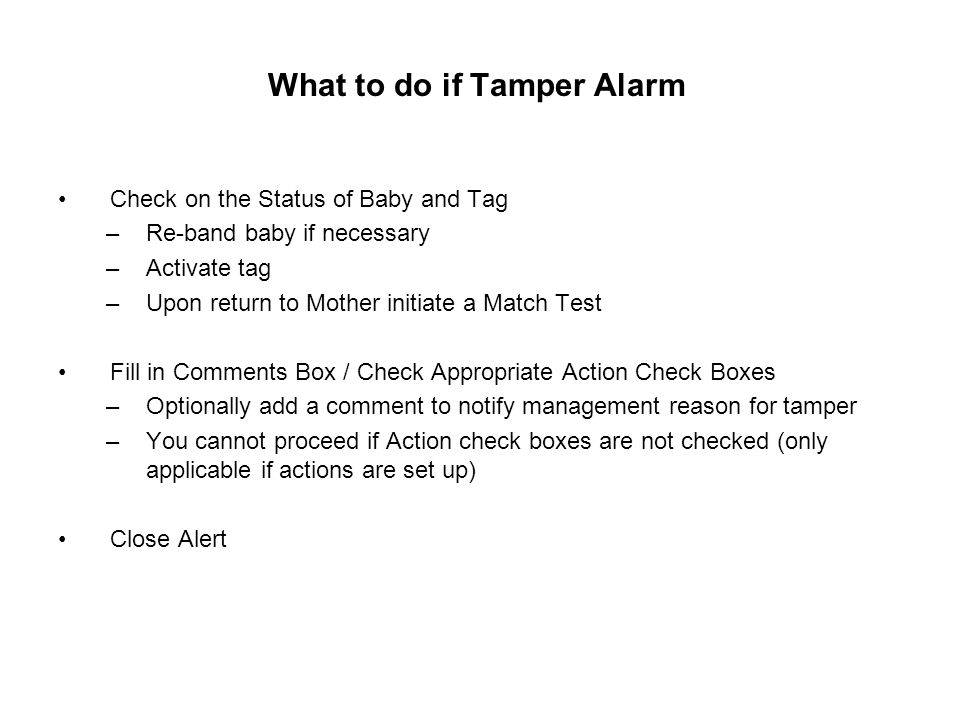 What to do if Tamper Alarm