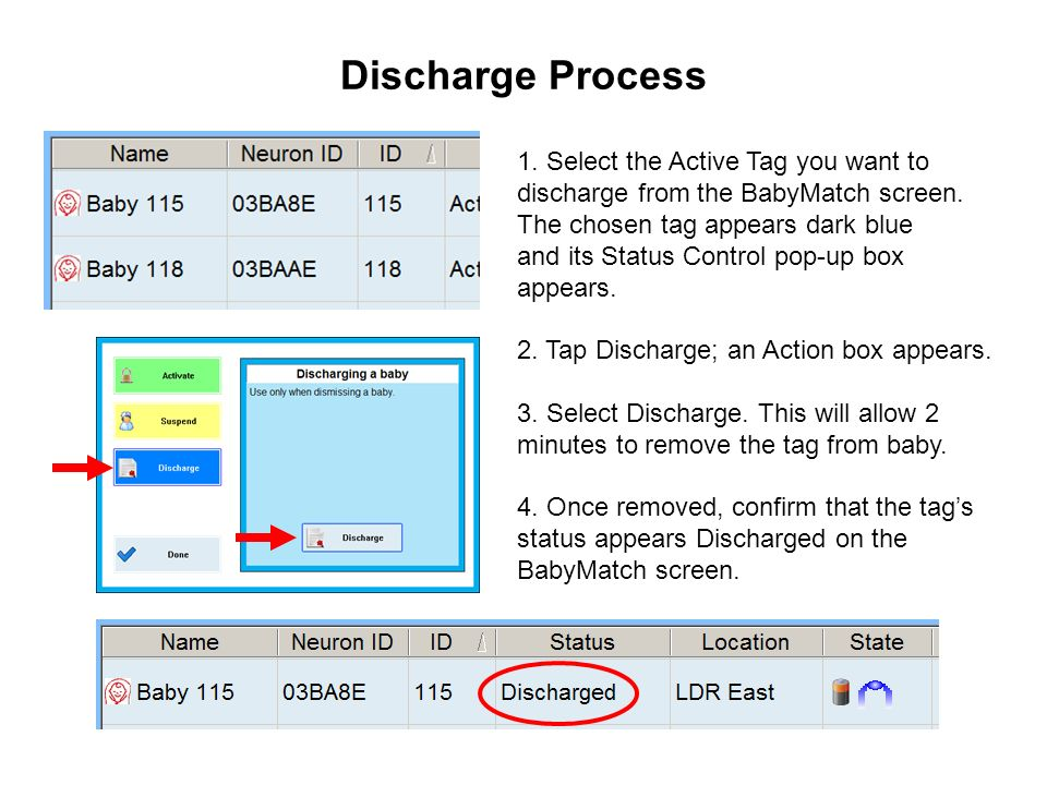Discharge Process 1. Select the Active Tag you want to discharge from the BabyMatch screen. The chosen tag appears dark blue.