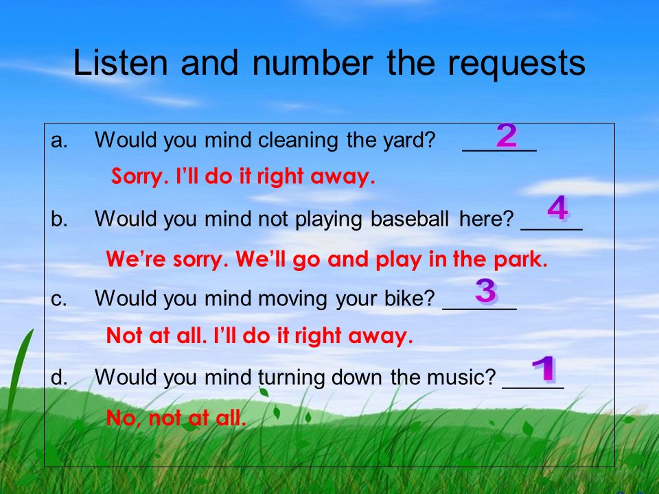 Listen and number the requests