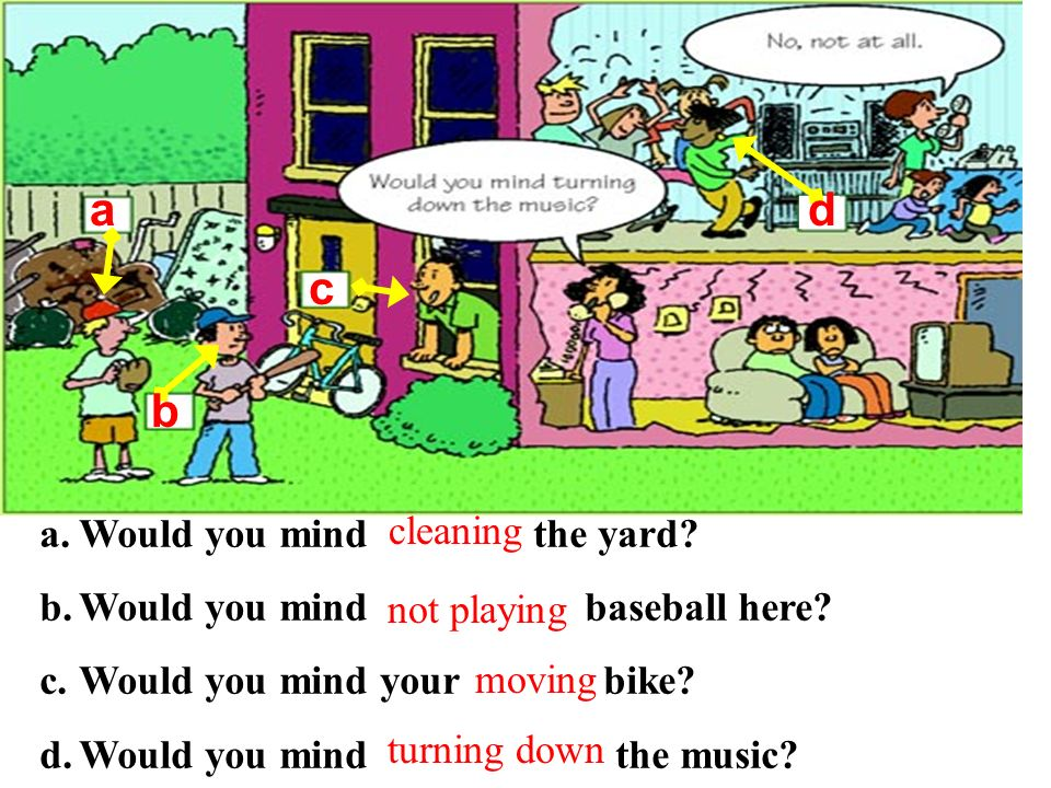 a d c b Would you mind the yard cleaning