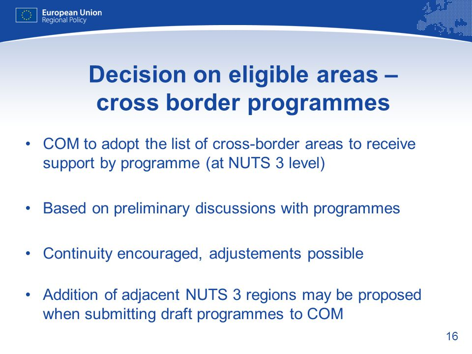 Decision on eligible areas – cross border programmes