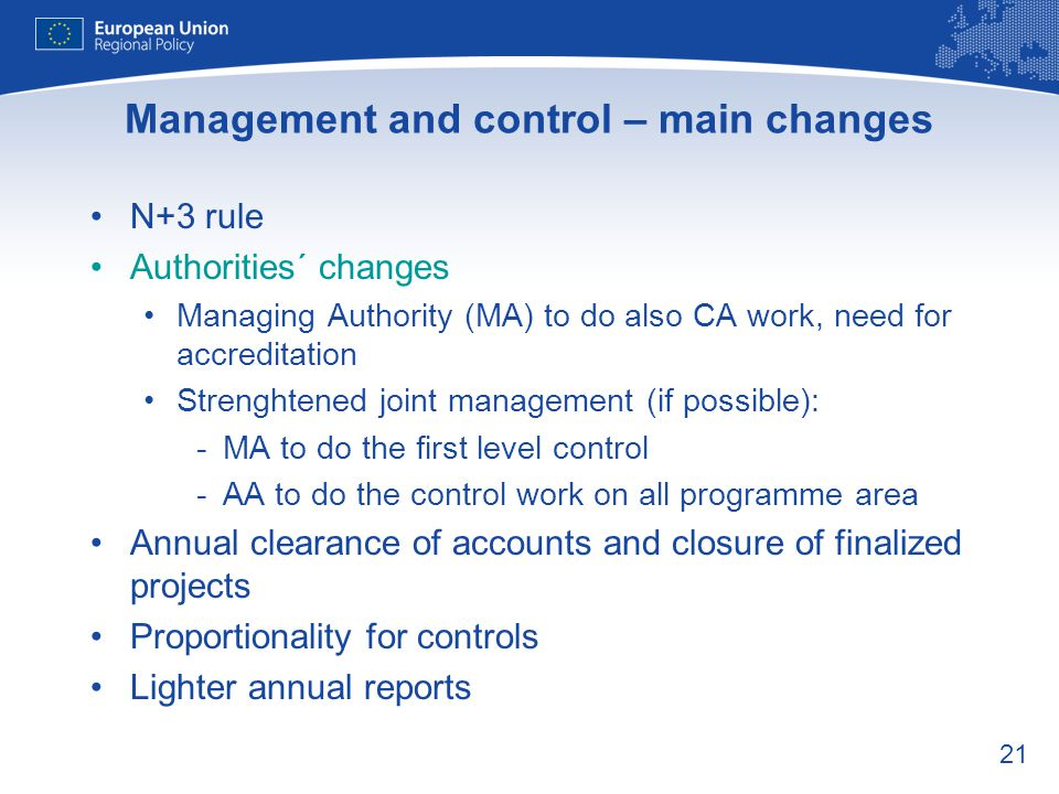Management and control – main changes