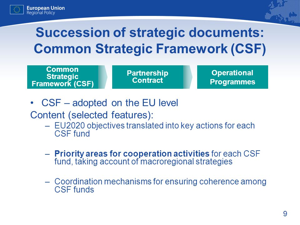 Succession of strategic documents: Common Strategic Framework (CSF)