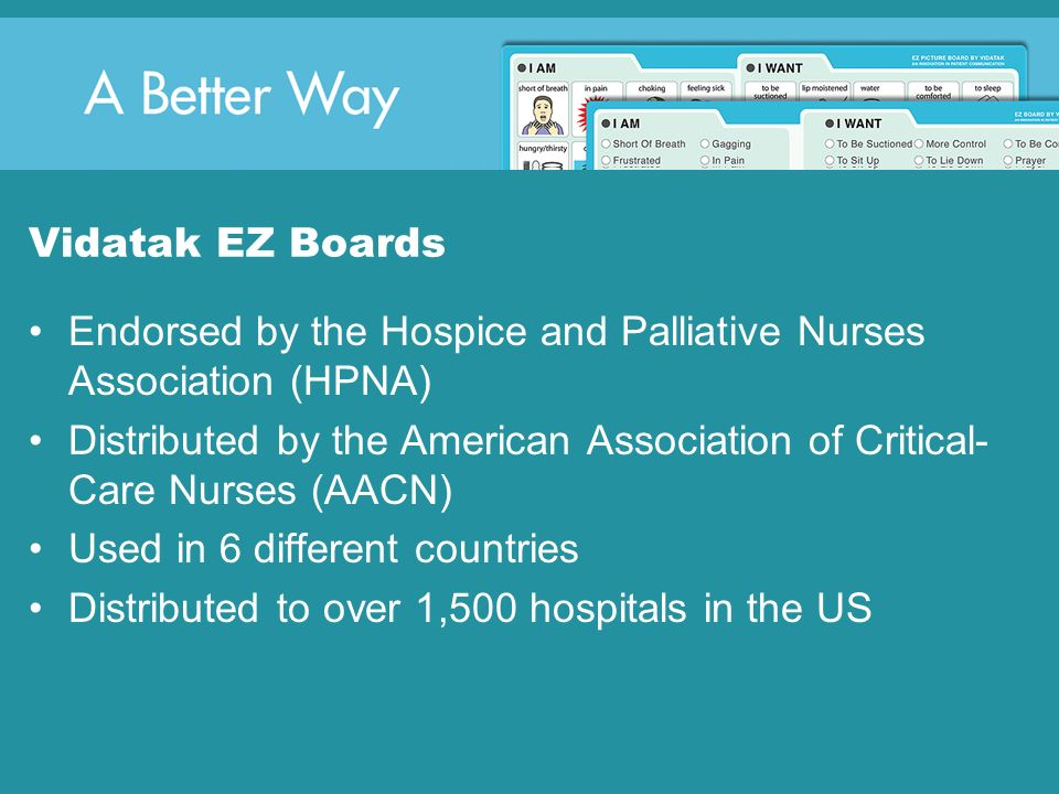 Vidatak EZ Boards Endorsed by the Hospice and Palliative Nurses Association (HPNA)