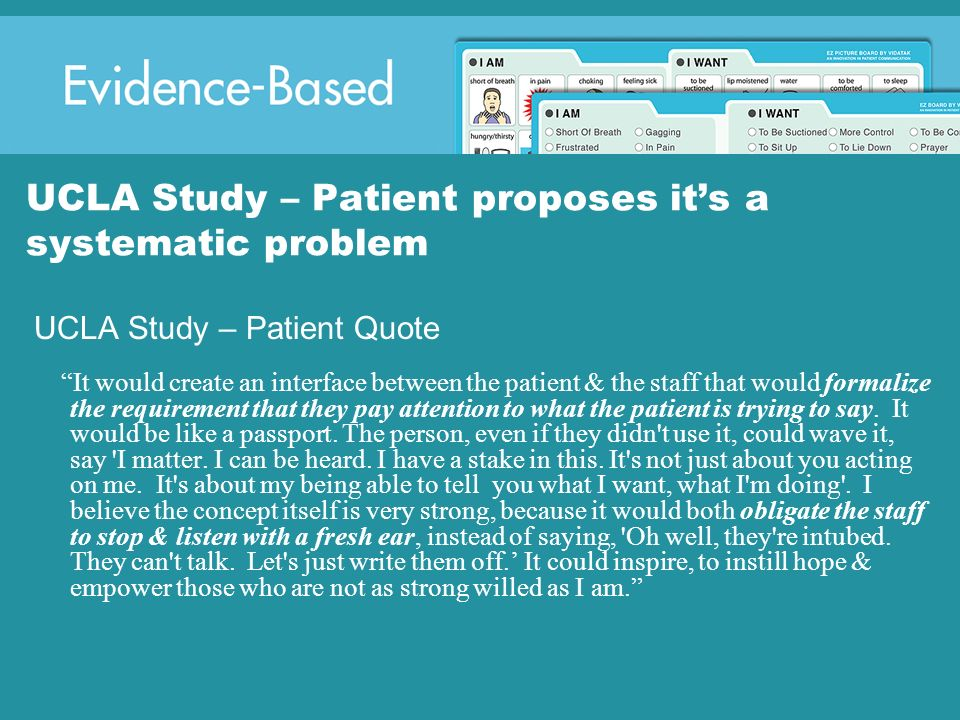 UCLA Study – Patient proposes it's a systematic problem