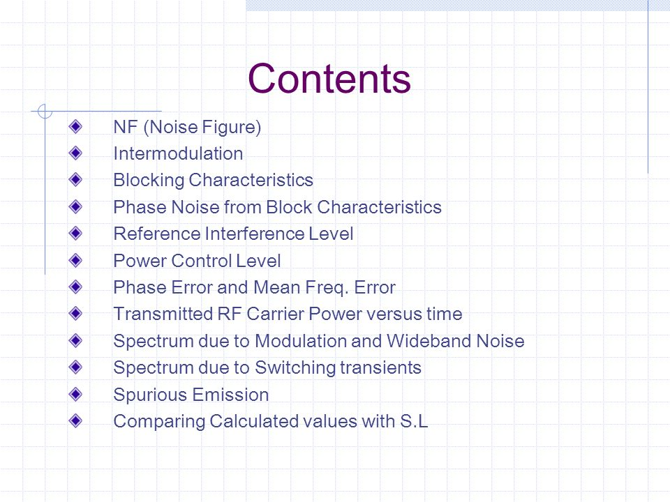 Contents NF (Noise Figure) Intermodulation Blocking Characteristics
