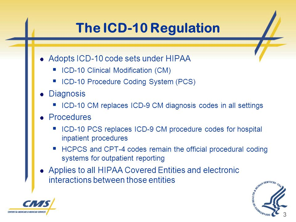 The ICD-10 Regulation Adopts ICD-10 code sets under HIPAA Diagnosis