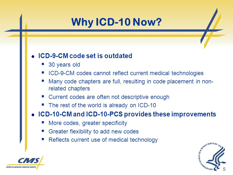 Why ICD-10 Now ICD-9-CM code set is outdated