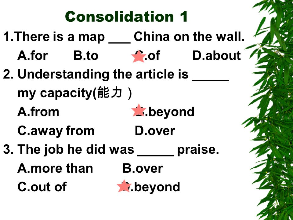 Consolidation 1 1.There is a map ___ China on the wall.