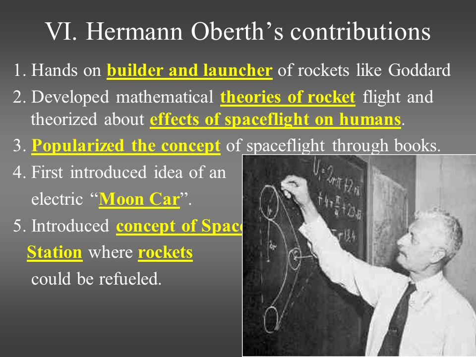 VI. Hermann Oberth's contributions