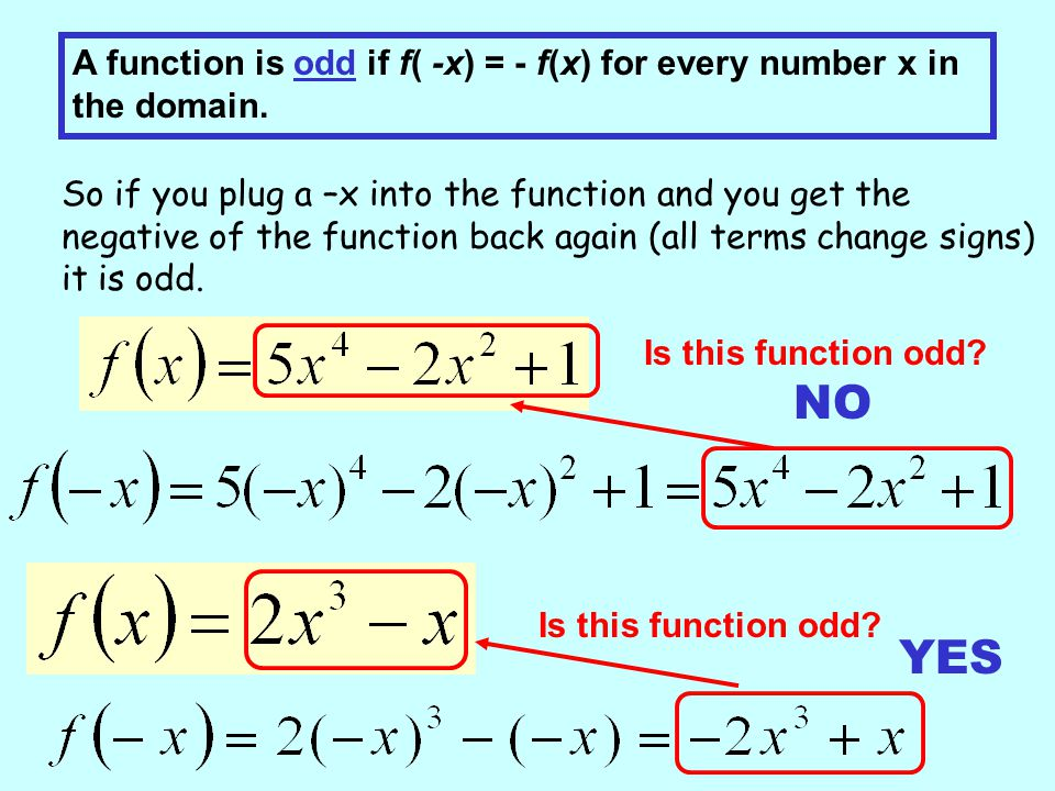 A function is odd if f( -x) = - f(x) for every number x in the domain.