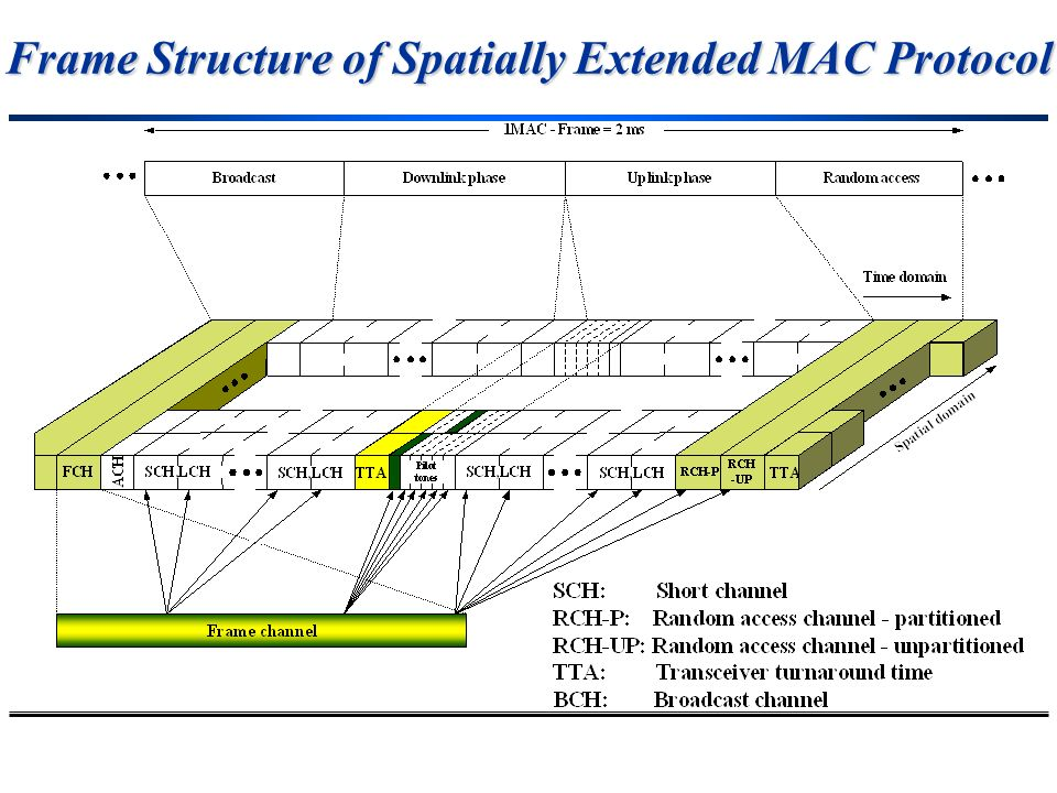 Frame Structure of Spatially Extended MAC Protocol