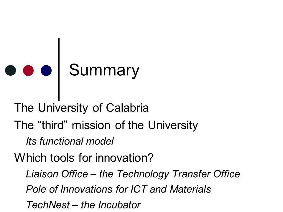 Summary The University of Calabria