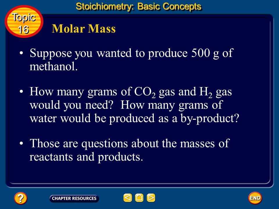 Suppose you wanted to produce 500 g of methanol.