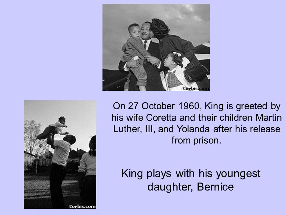 King plays with his youngest daughter, Bernice
