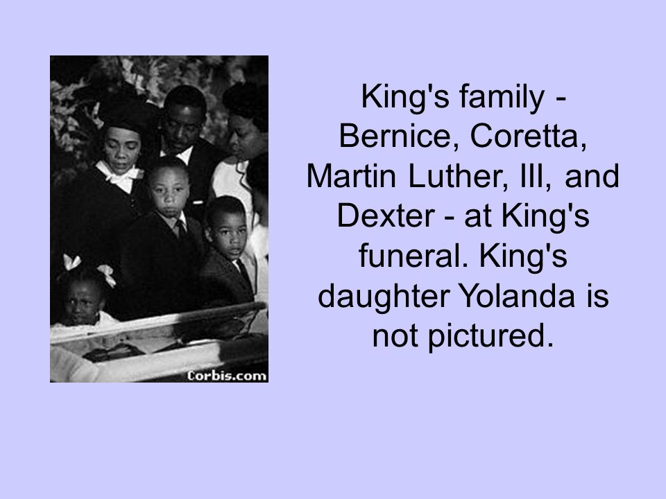 King s family - Bernice, Coretta, Martin Luther, III, and Dexter - at King s funeral.