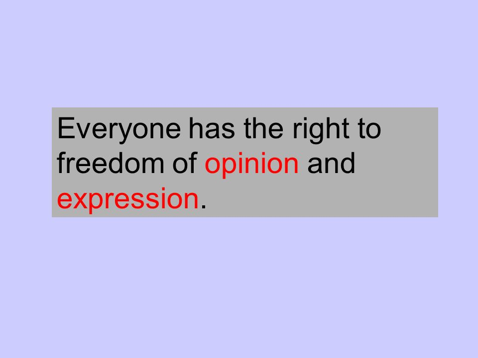 Everyone has the right to freedom of opinion and expression.