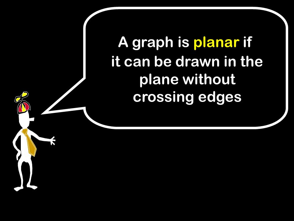 it can be drawn in the plane without crossing edges