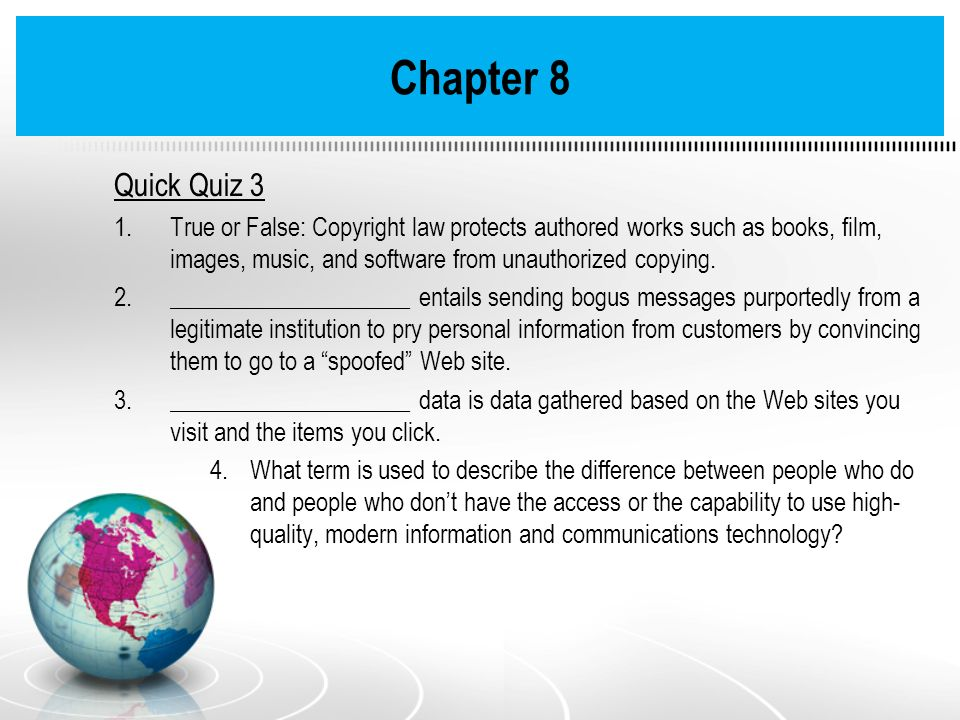 Chapter 8 Quick Quiz 3.
