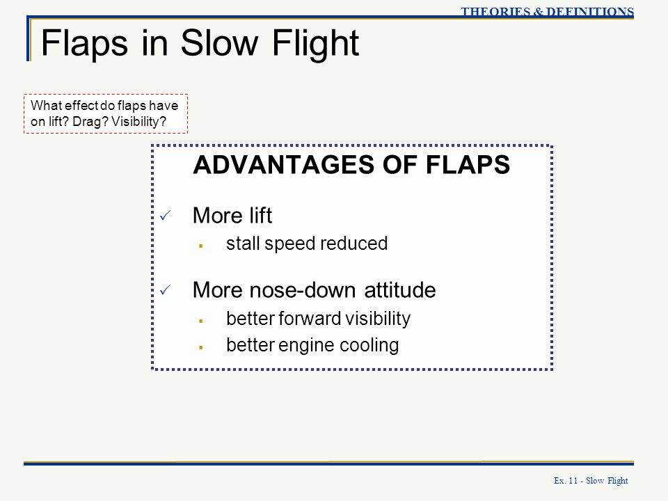 Flaps in Slow Flight ADVANTAGES OF FLAPS More lift
