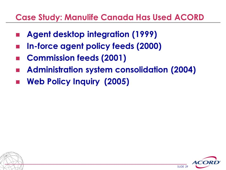 Case Study: Manulife Canada Has Used ACORD
