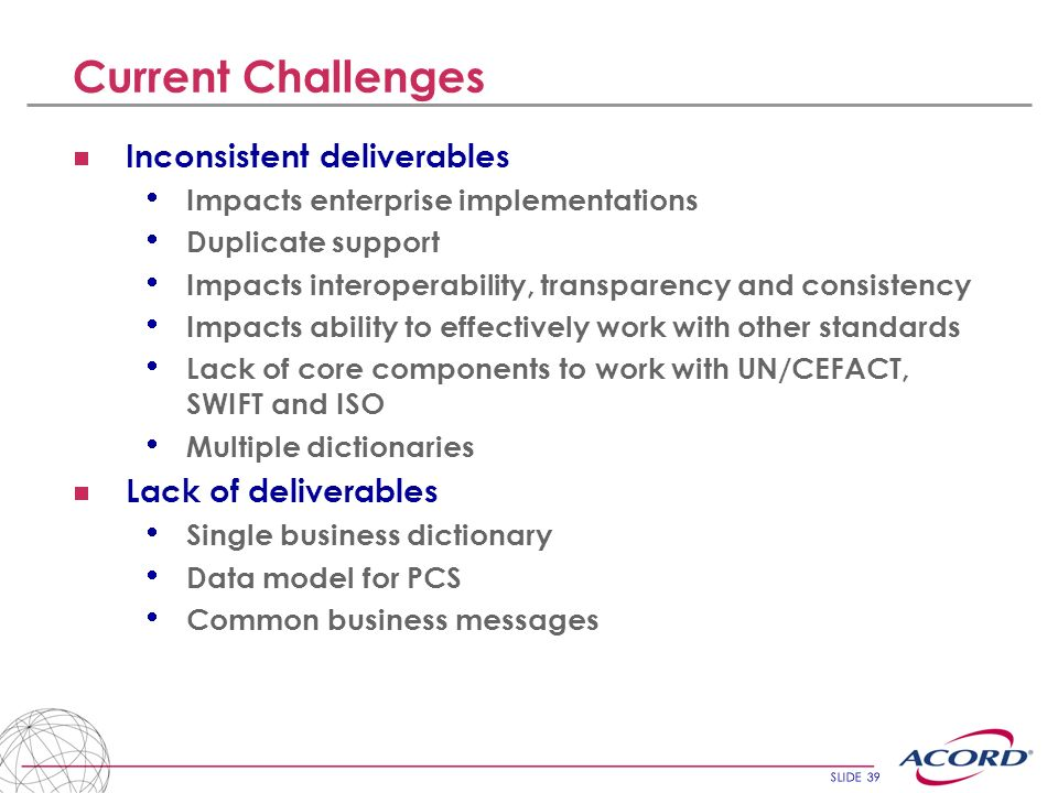 Current Challenges Inconsistent deliverables Lack of deliverables