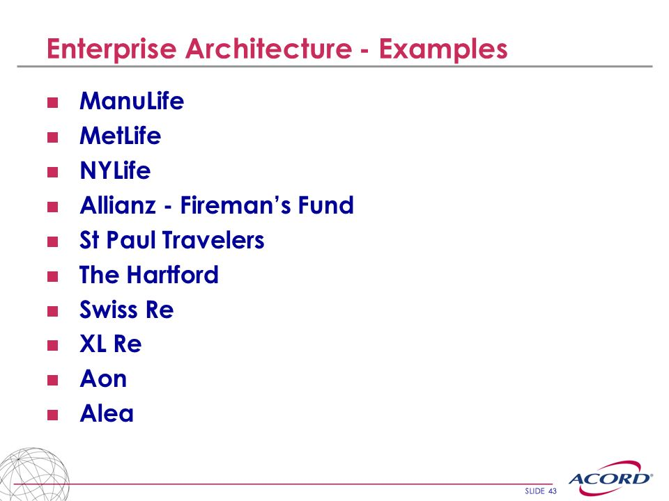 Enterprise Architecture - Examples