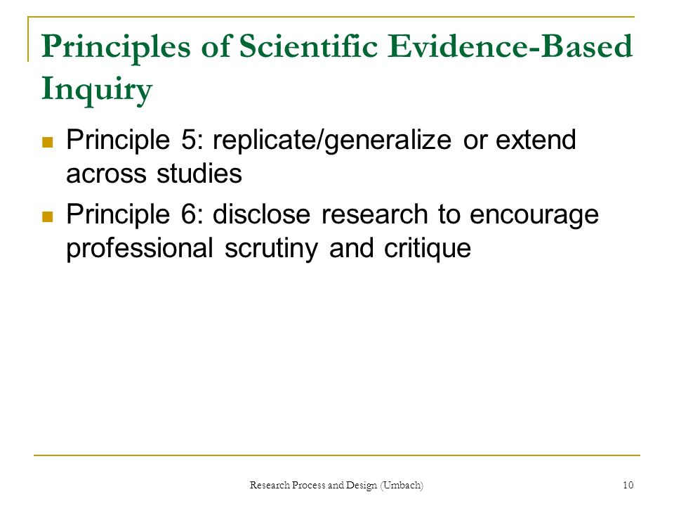 Principles of Scientific Evidence-Based Inquiry