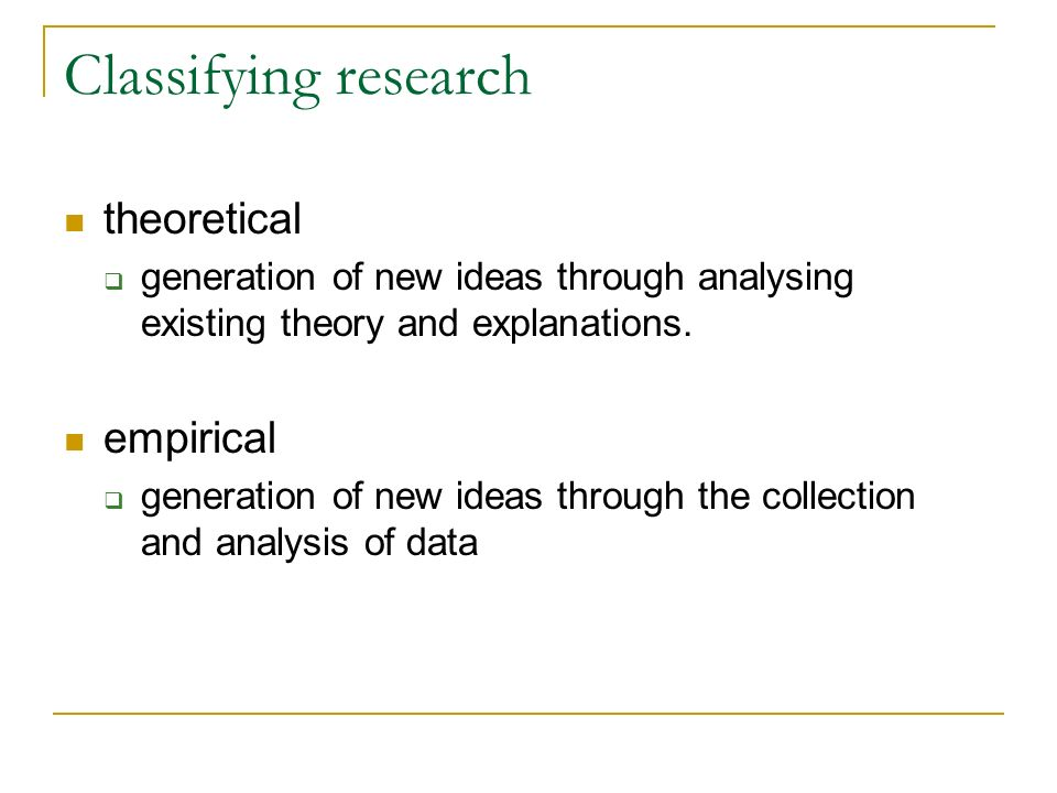 Classifying research theoretical empirical