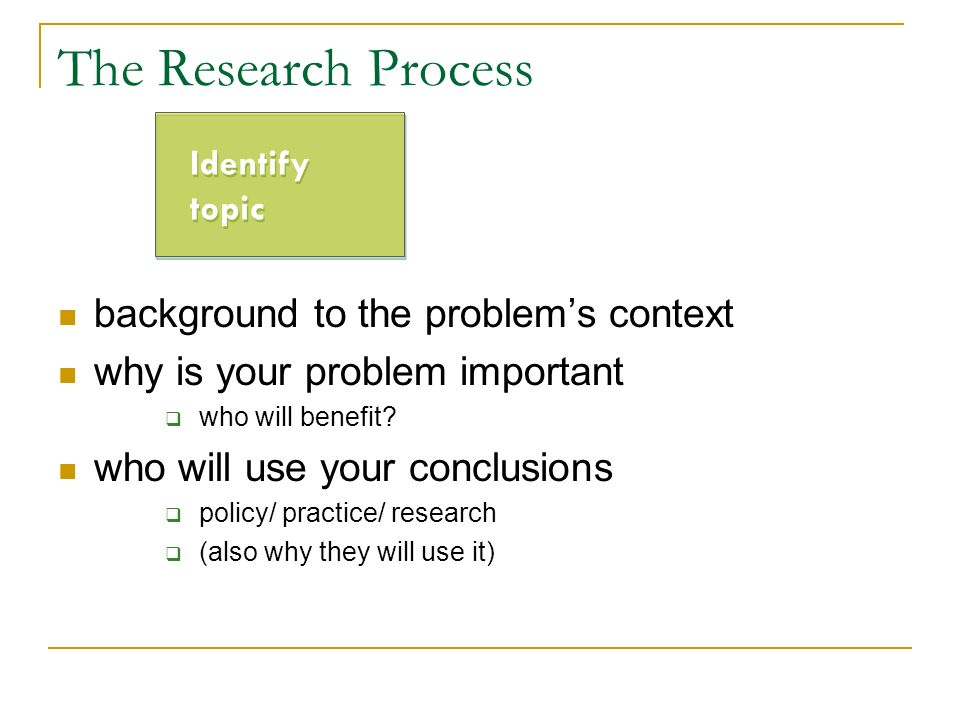 The Research Process background to the problem's context