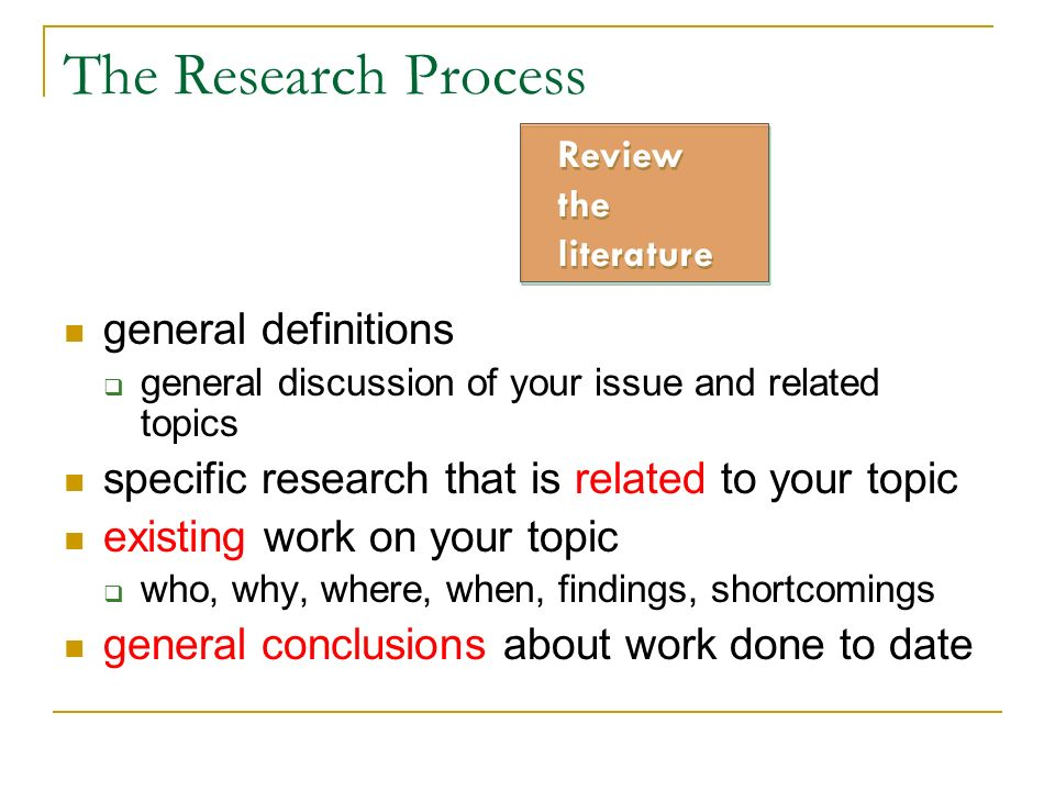 The Research Process general definitions