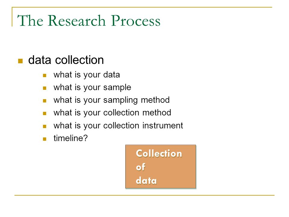 The Research Process data collection Collection of data