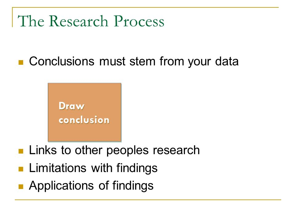 The Research Process Conclusions must stem from your data